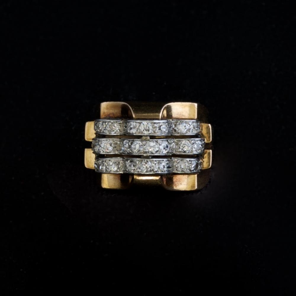 18K rose gouden ring met diamanten