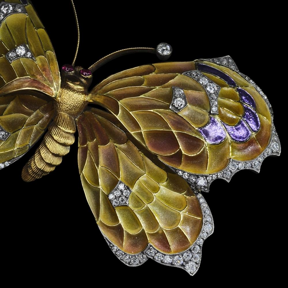 Butterfly in plique a jour enamel
