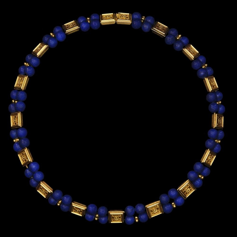 Neoetruskisch collier met Lapis en goud