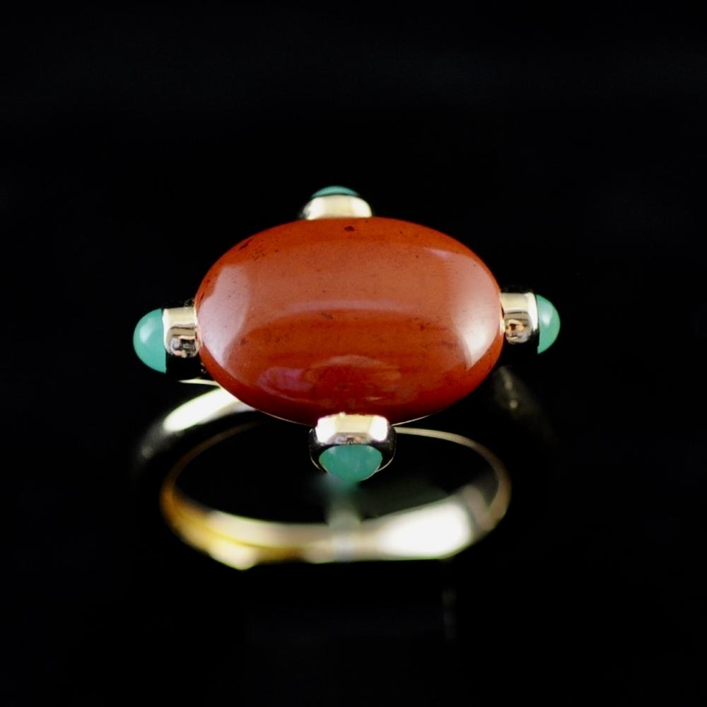 Jaspis en chrysopraas ring