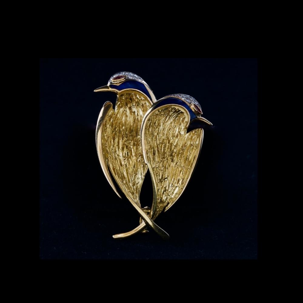 18k gouden broche met twee zwaluwen