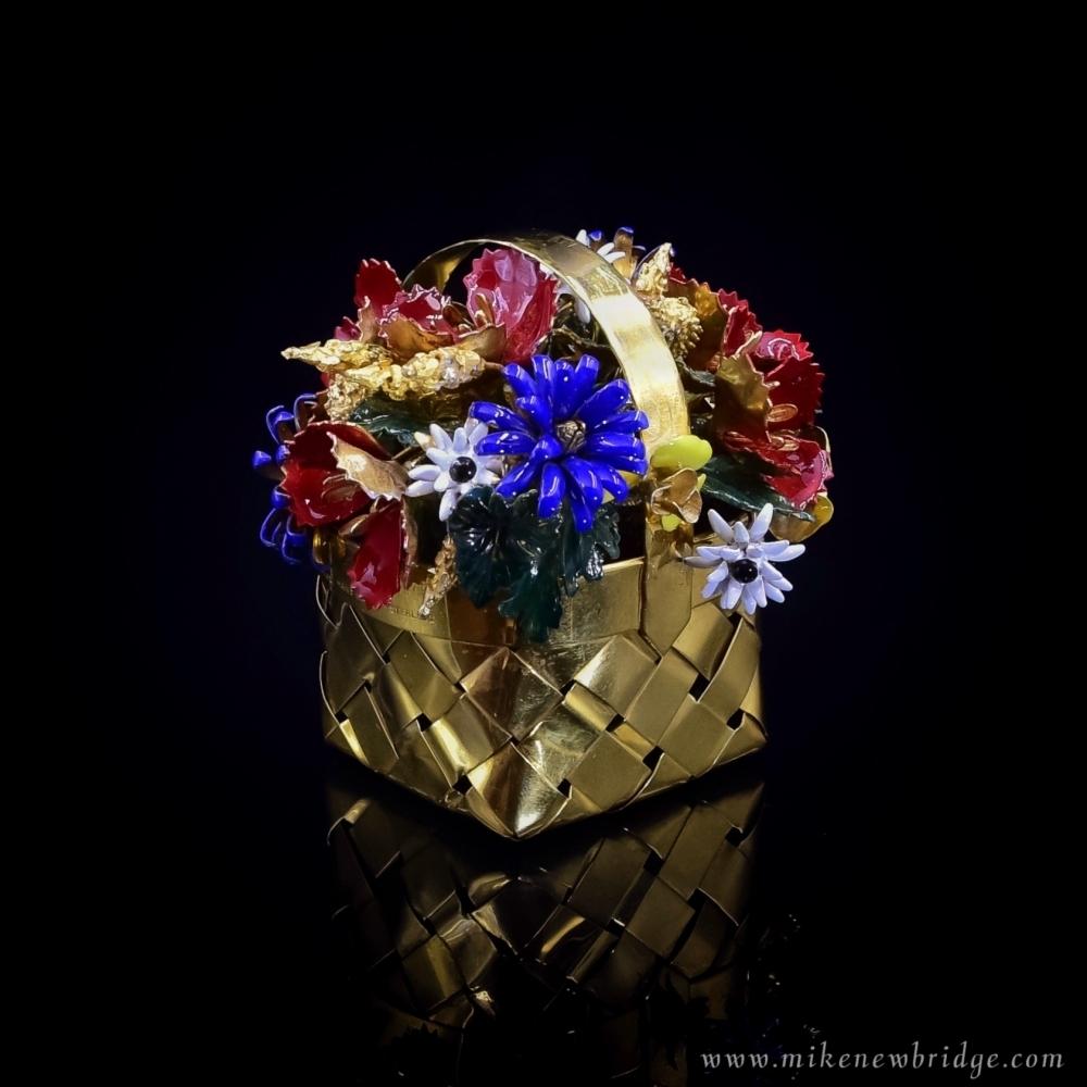 Verguld zilveren bloemenmand