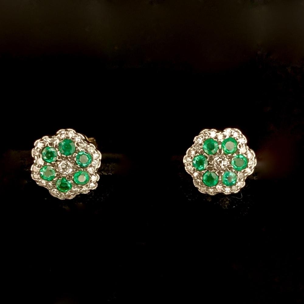 Oorknoppen diamant / smaragd