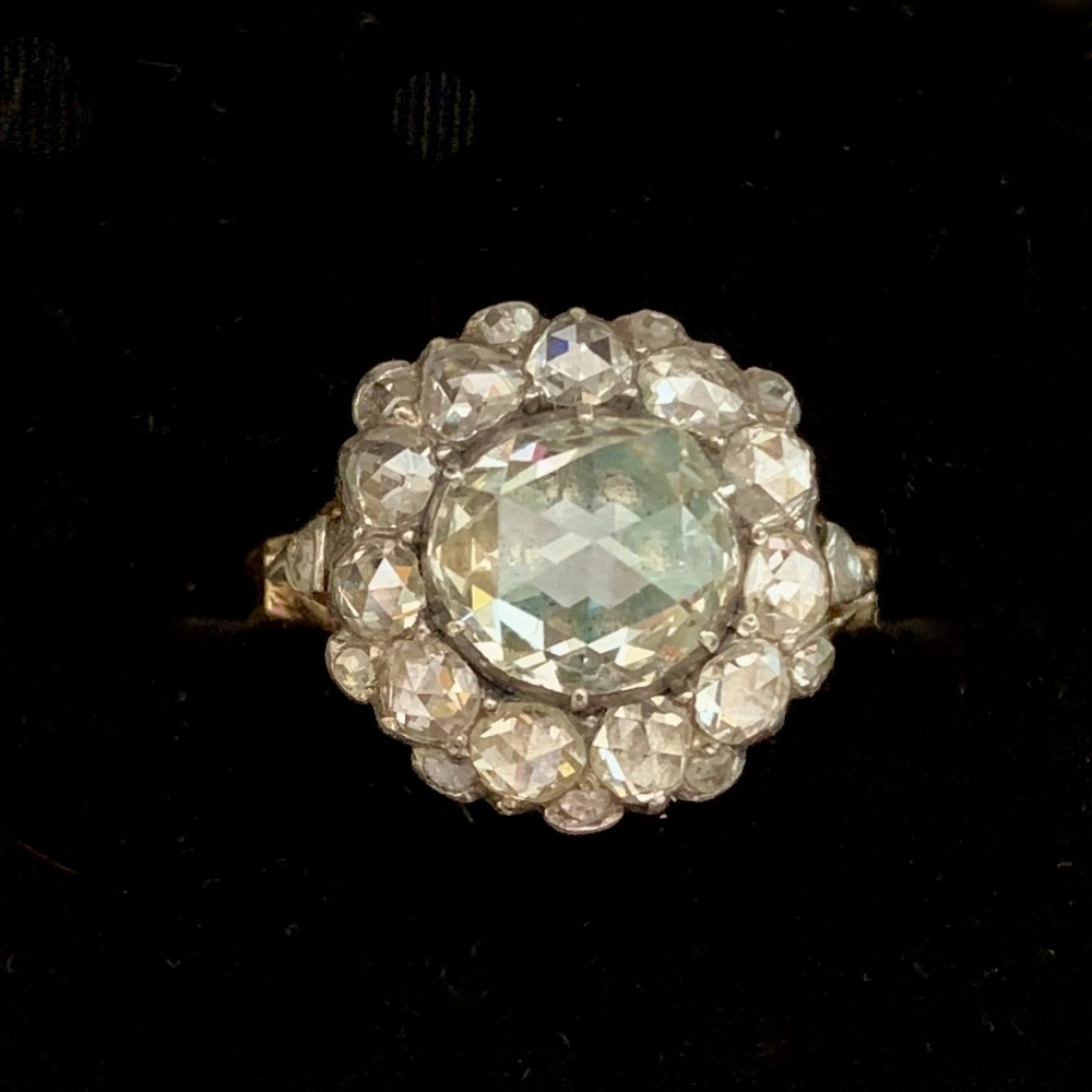Cluster Ring with Tower cut rose