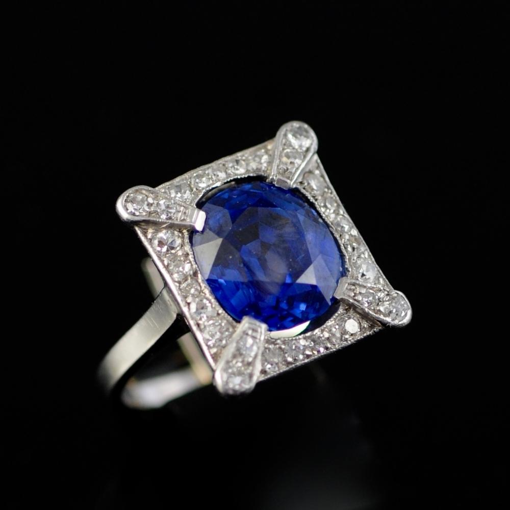 Art Nouveau Ceylon saffier ring