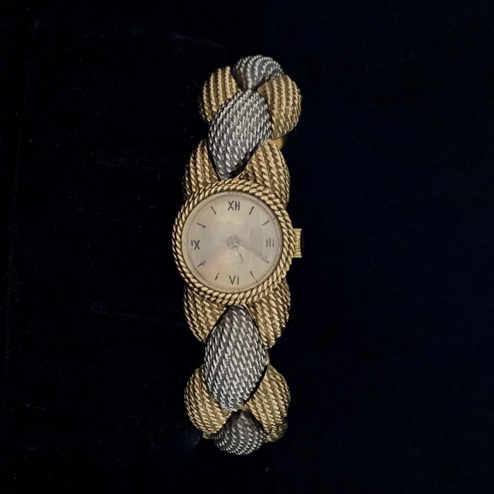 Sterlé platina en goud armbandhorloge 1980