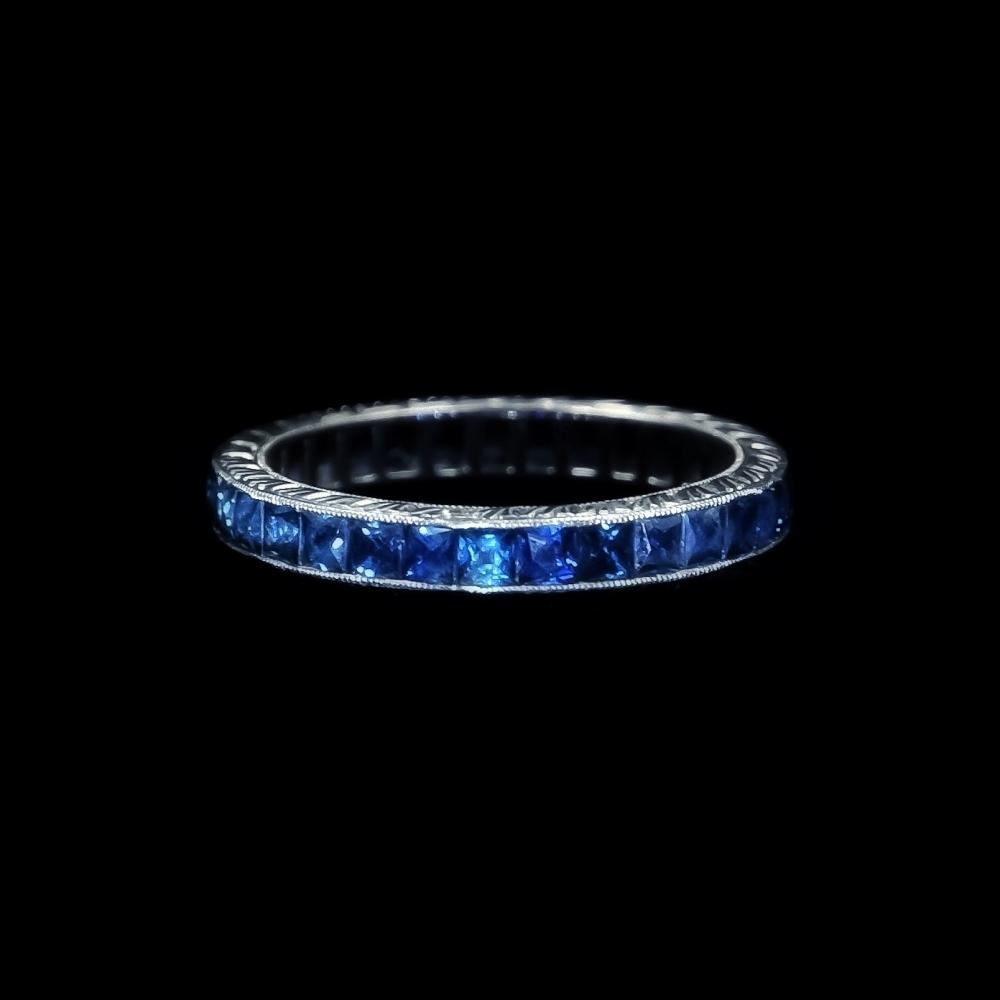 Deco alliance ring met saffier