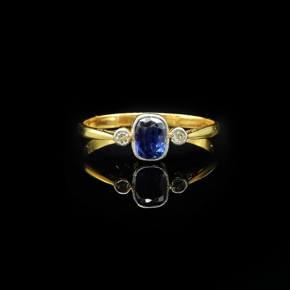 Ring saffier en diamant