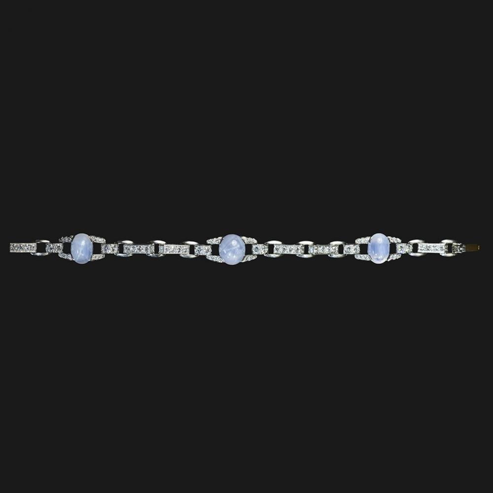 Armband met stersaffieren en diamanten