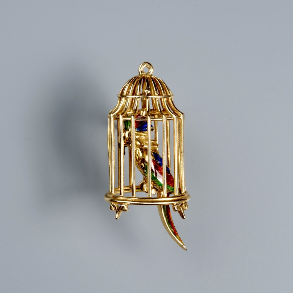 Clipbrooch bird cage