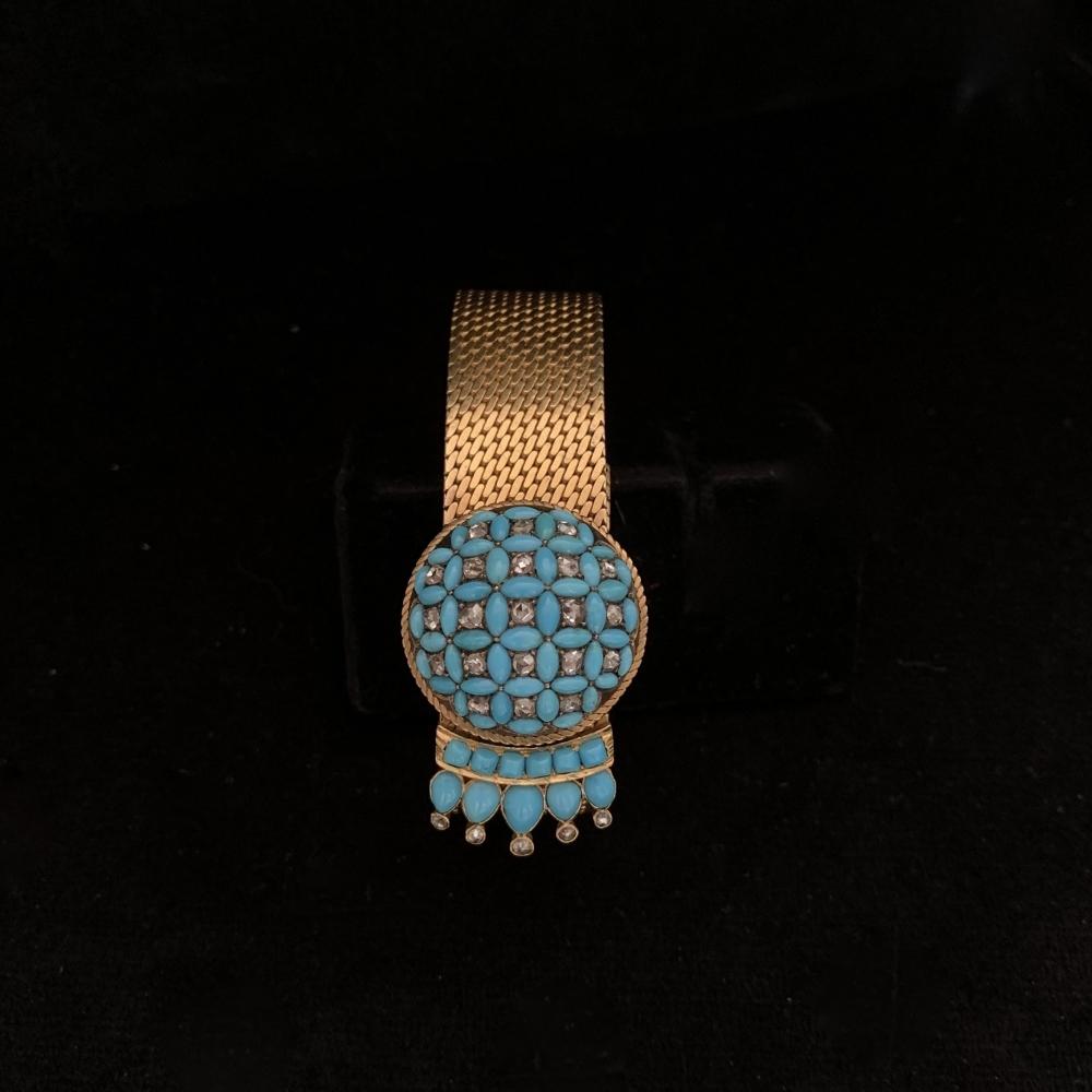 Armband met turkoois/diamant apliek