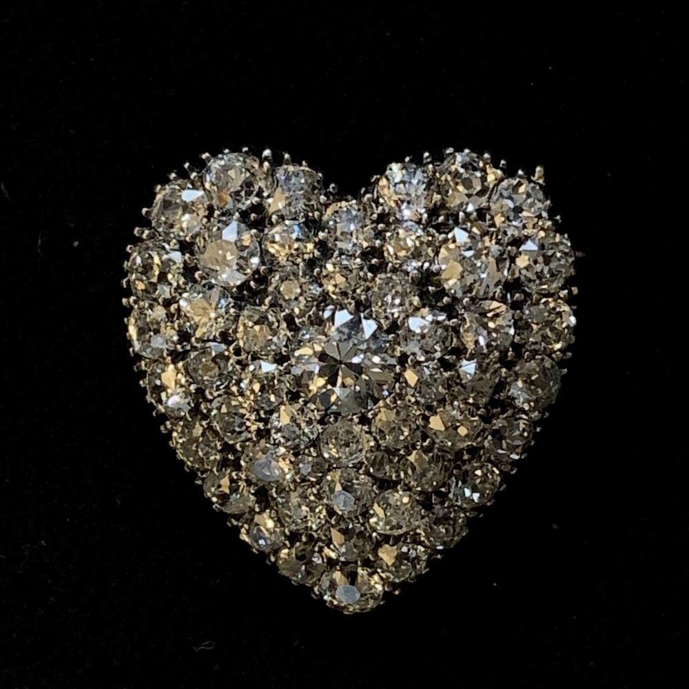 Victorian pave diamond heart