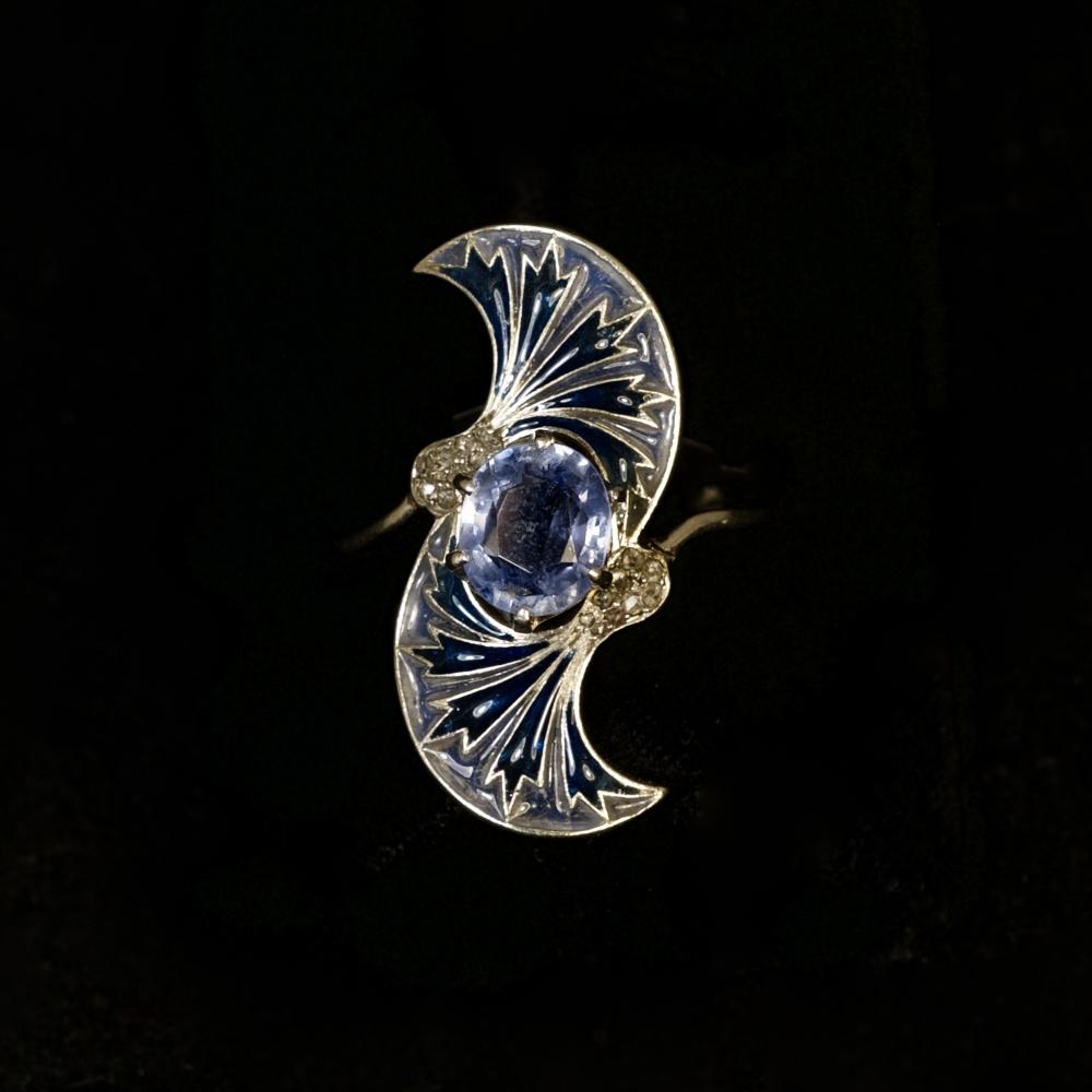 Platina Art Nouveau ring