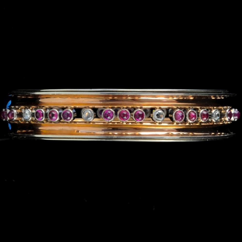 Belangrijke armband in goud, robijn en diamant, jaren 40