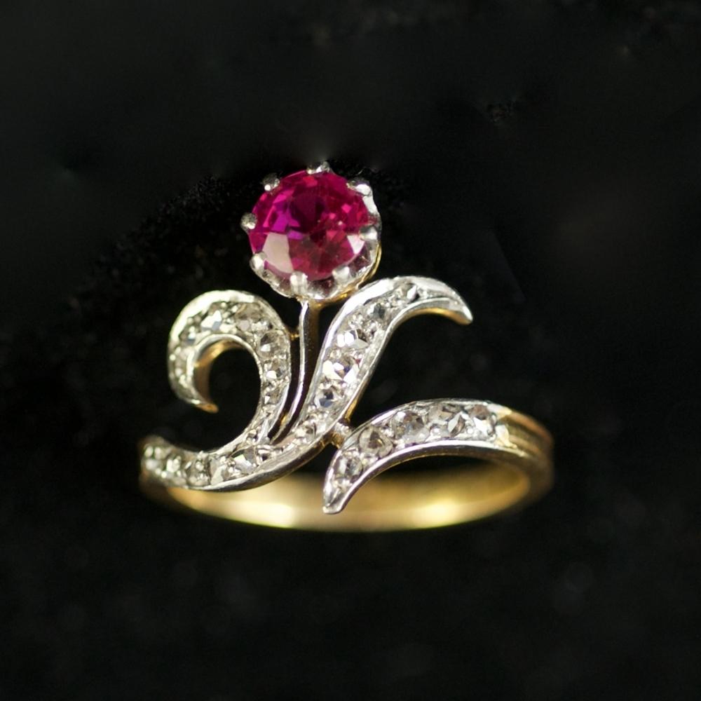 Art Nouveau bloem ring