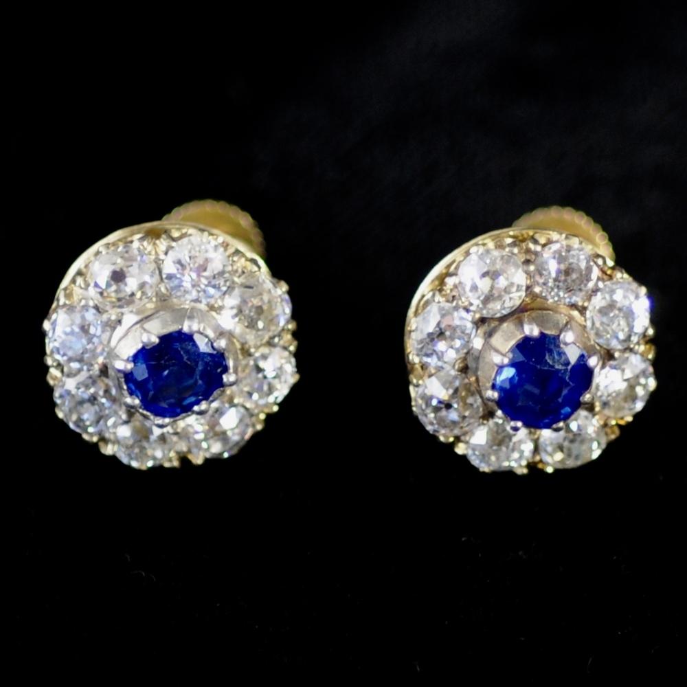 Rozetoorknoppen met diamant saffier