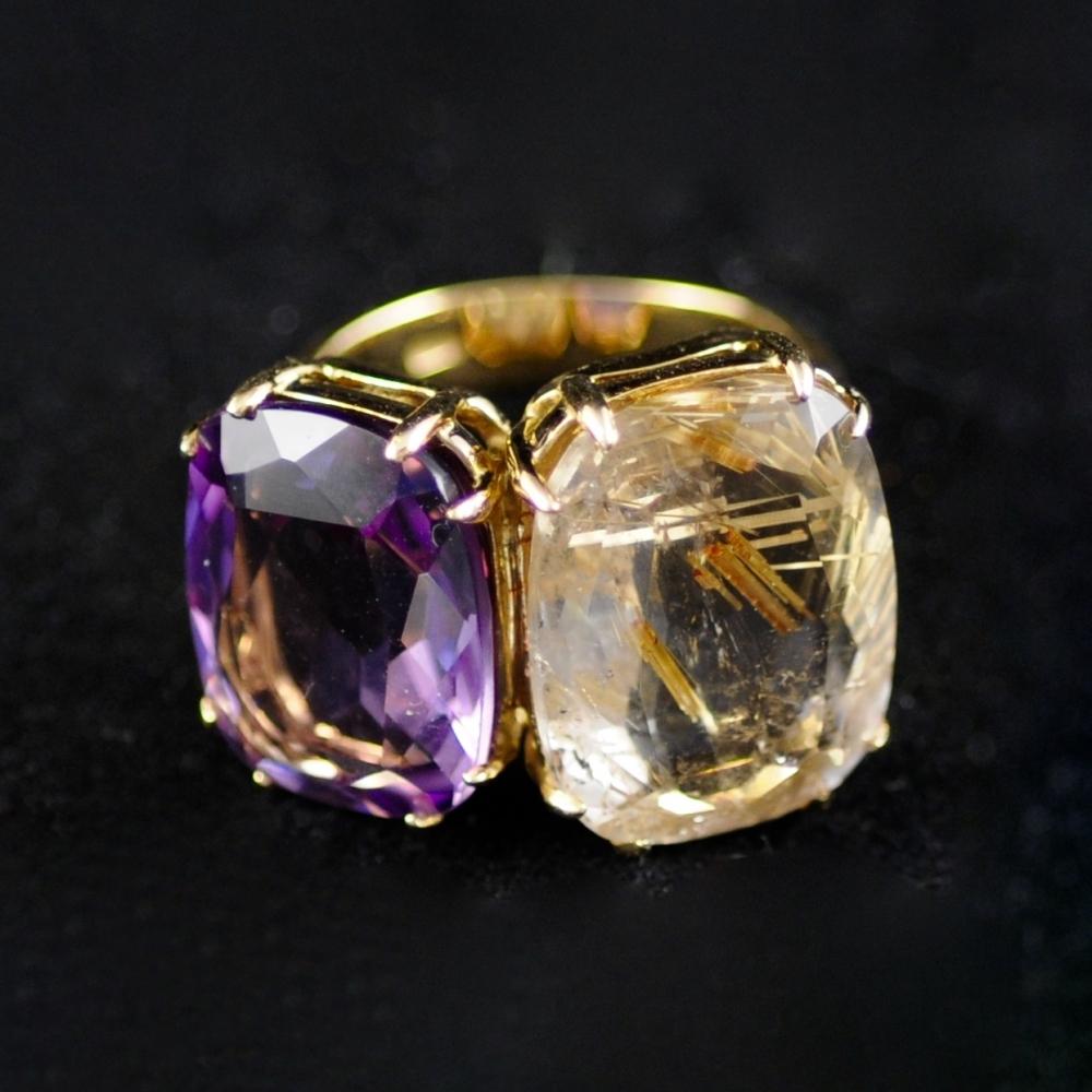 Rutiel en Amethist ring