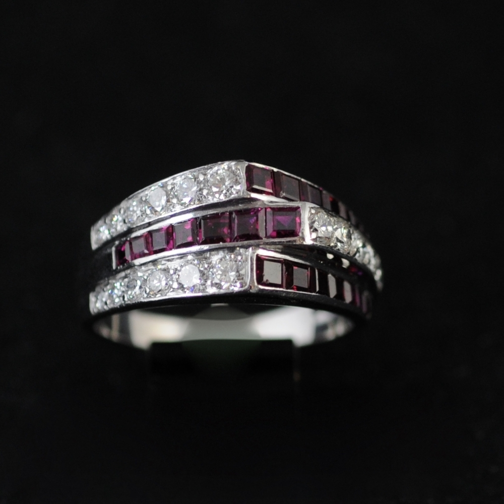 Ring 1940's ruby and diamond