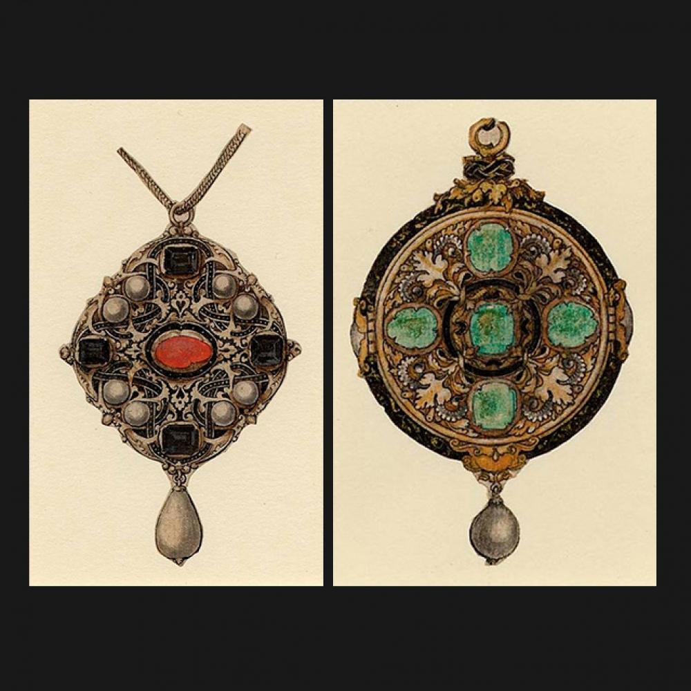 Twee ontwerpen van Holbein voor Jane Seymour, koningin van Engeland