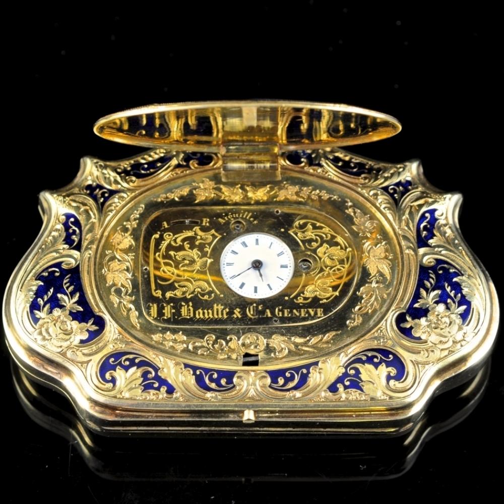 Portemonnee met verborgen horloge door J.F. Bautte & Cie