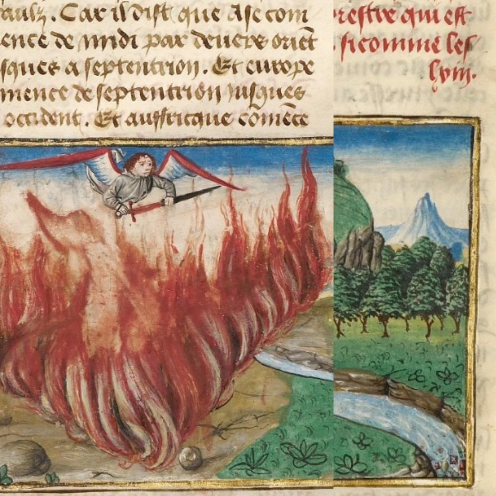 Engel van het Paradijs met zwaard in Spieghel Historiael, ca. 1475. The J. Paul Getty Museum, Ms. Ludwig XIII 5, vol. 1, fol. 54v. Rechsonder fragment van edelstenen in de Paradijsrivier.