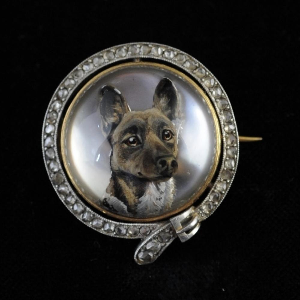 Broche met afbeelding van een Gorci hond