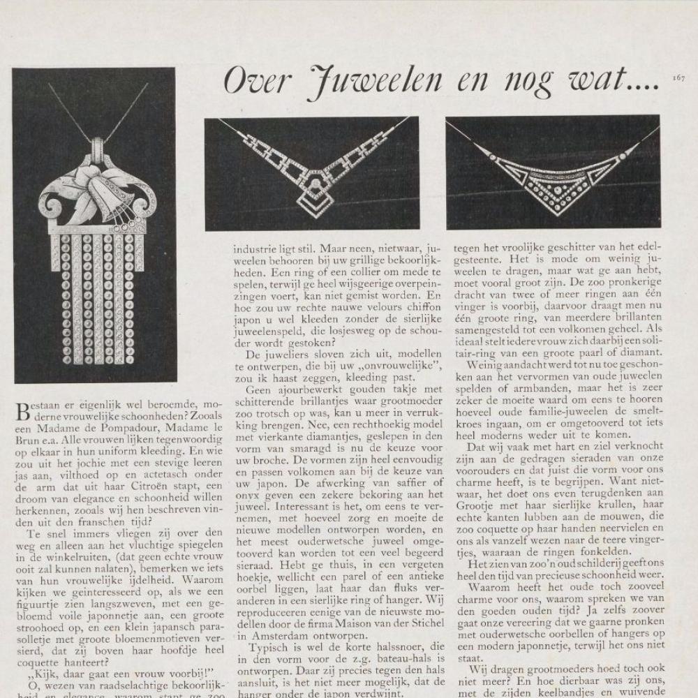 Artikel in Op de Hoogte (1926) met afbeeldingen van juwelen van Maison van der Stichel.