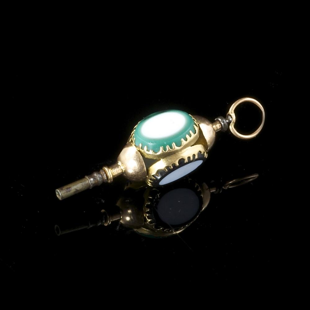 Goud en pâte de verre horloge sleutel