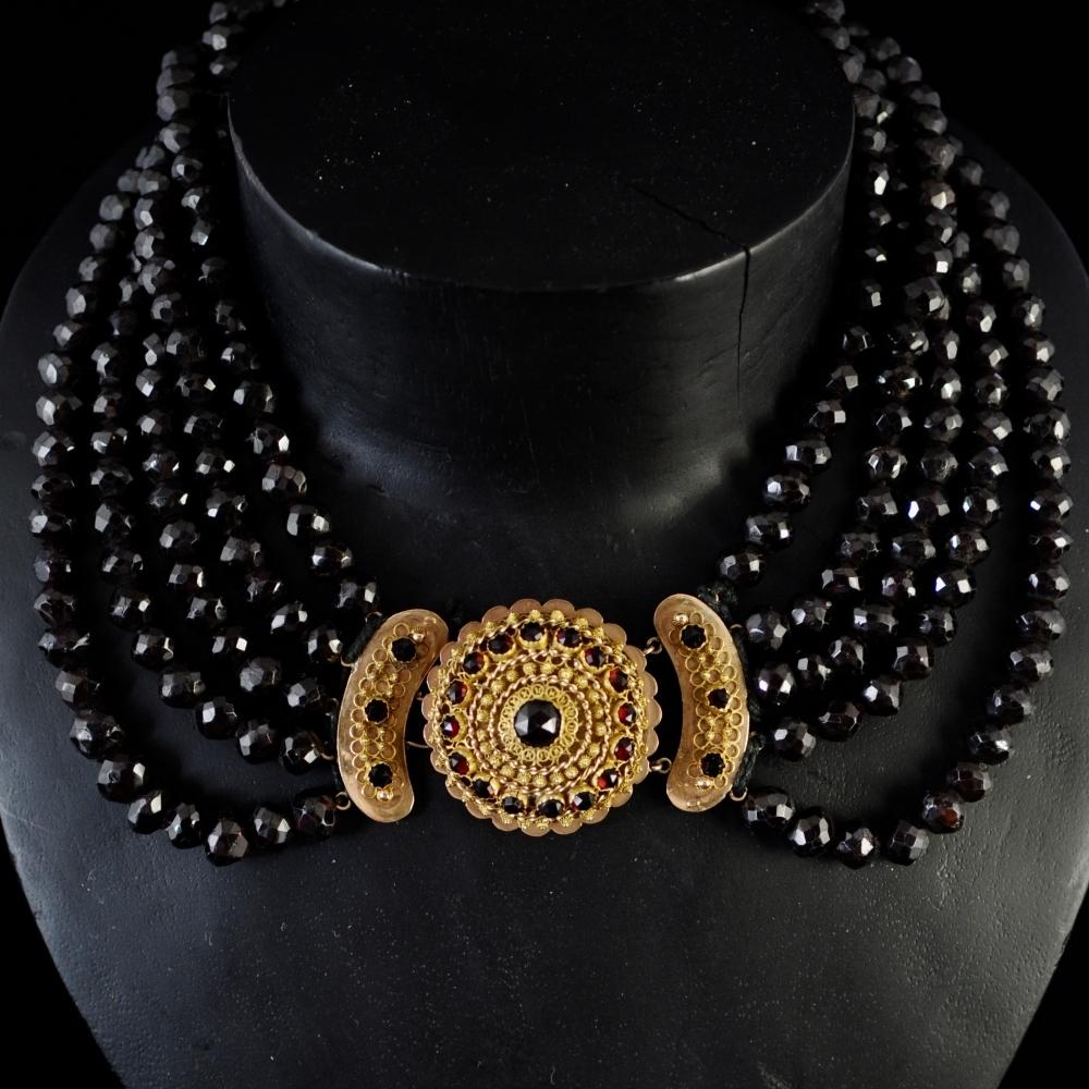 Garnet five string Necklace
