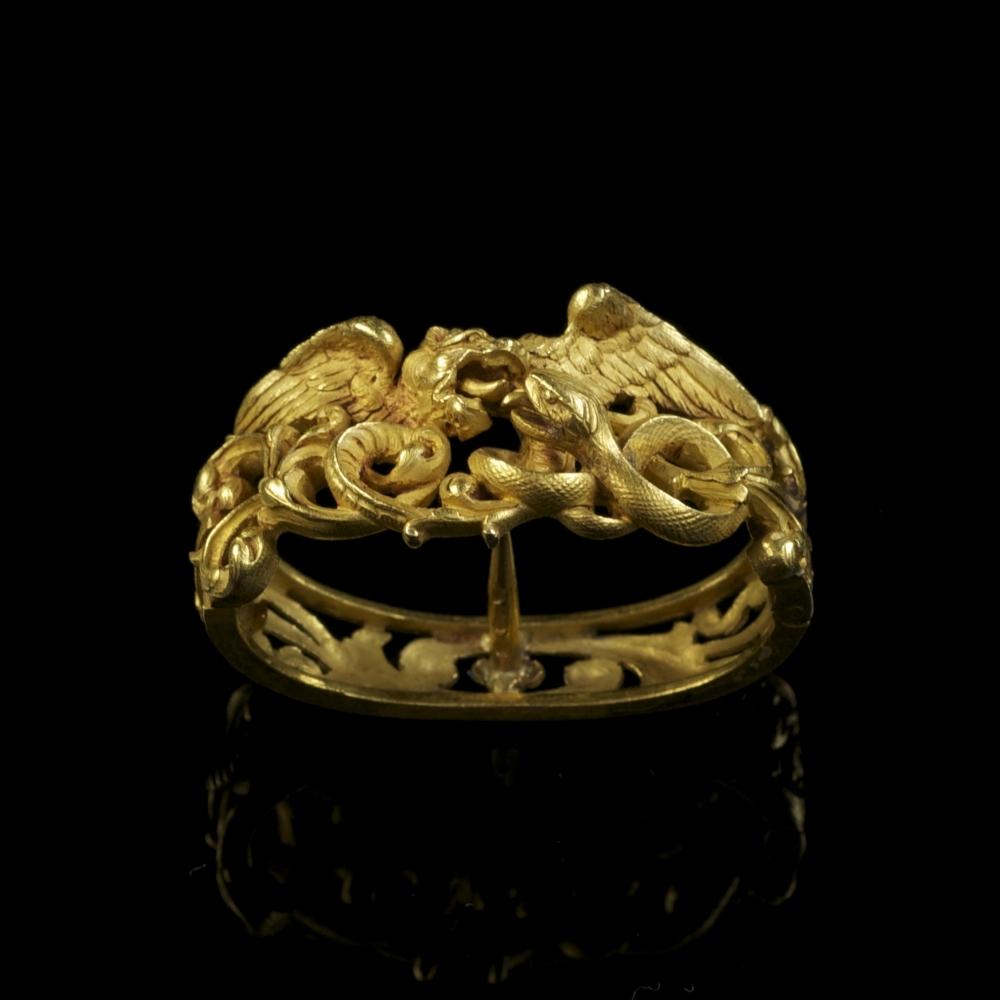 antique gold dragon scarf pin