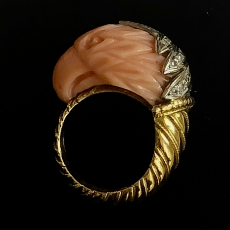 Carved coral eagle ring
