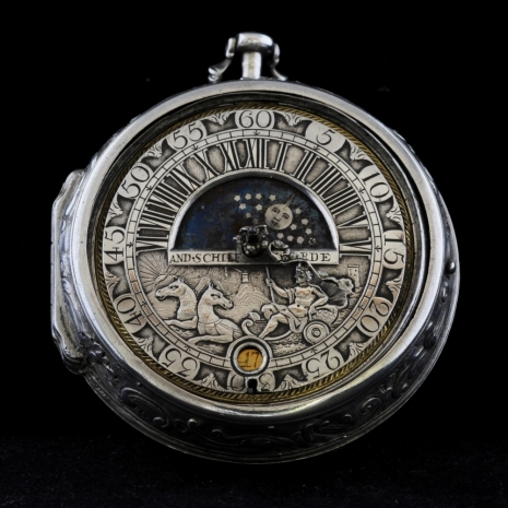 Astronomical silver paircased watch