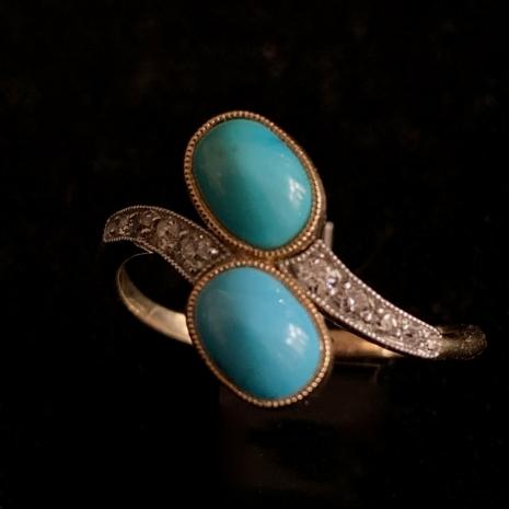 Toi et Moi ring turquoise and diamond