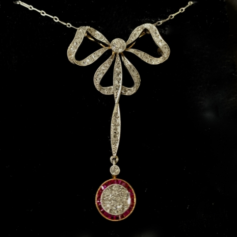 Garland style ruby and diamond pendant