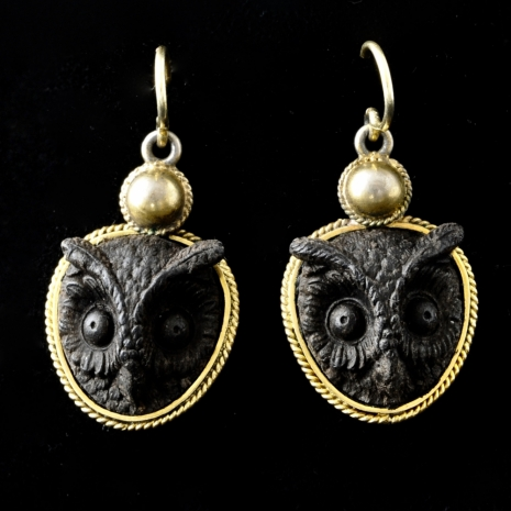 Bog-oak owl earrings