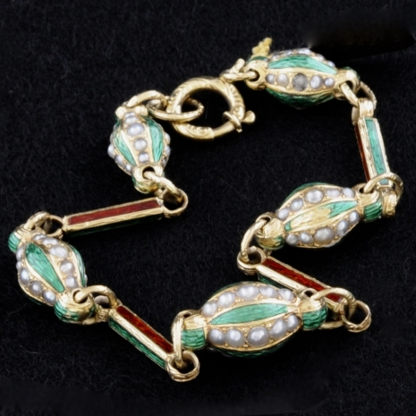 19th century bracelet with enamel and pearls
