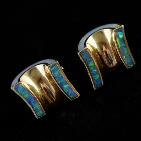 Gold and opal earclips