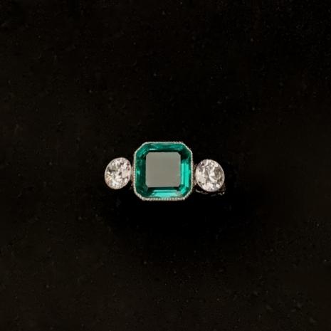Square cut emerald ring