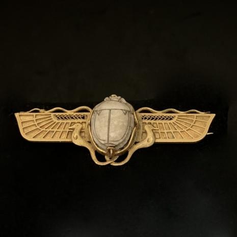 Winged scarab brooch