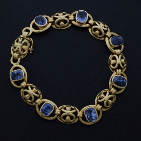 Bracelet yellow gold and sapphire