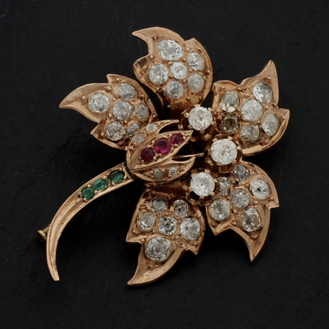 Rose gold flower brooch