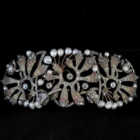 """Dog Collar, Art Nouveau """"Adiantum"""""""