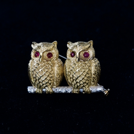 Brooch with owls