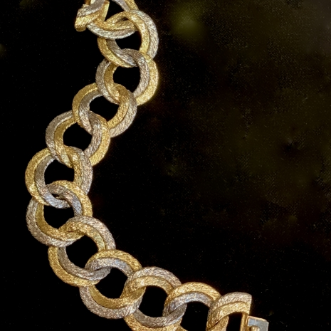 Georges Lenfant Paris two color braided gold bracelet