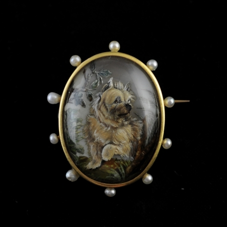 French rock crystal brooch with Yorkshire terrier (Essex crystal)