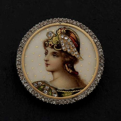 Limoge enamel brooch with portrait of a lady