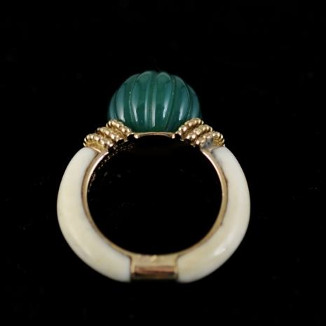 Green Agate and Ivory Ring