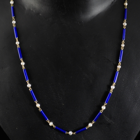 Pearl and enamel necklace