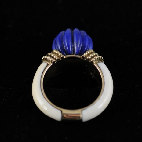 Carved Lapis and Ivory Ring