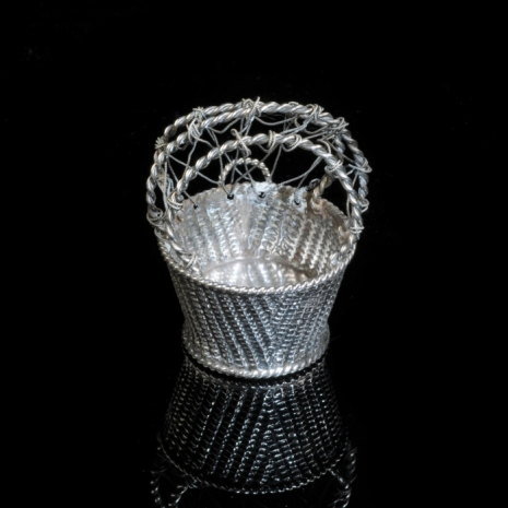 Miniature silver diaper basket